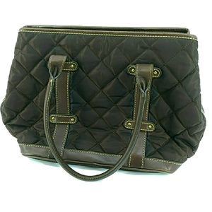 J. Crew Quilted Brown Leather Handles Bag
